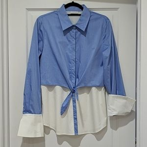 NWOT Front-Tie Button Up Shirt